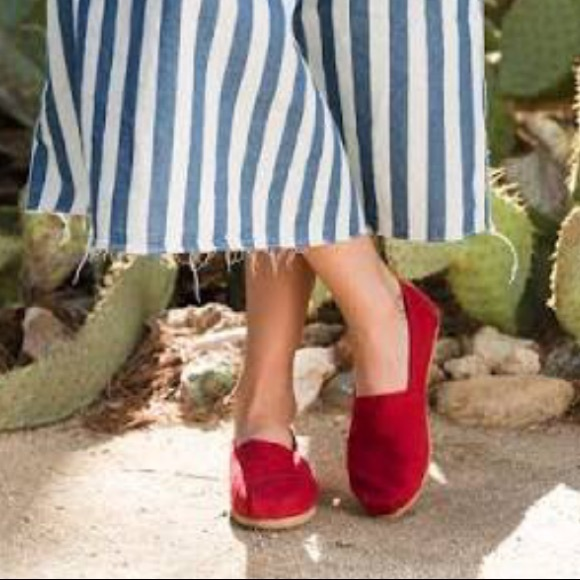 New Toms Red Canvas Classic Slip Ons